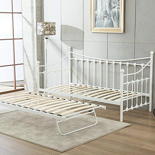 KOSY KOALA Glossy vanilla daybed off white colour with underbed trundle (off White day bed and underbed trundle, Without mattresses)