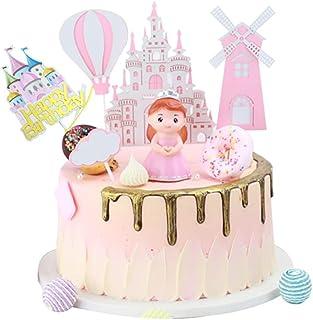 Kaimeilai Taartdecoratie decoratie, taartdecoratie prinses Castle windmolen, roze verjaardag taart topper, kinderen meisje...