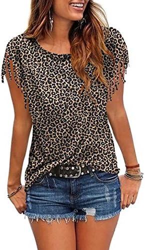 Cosonsen Women s Tassel Short Sleeve Round Neck T Shirt Top Casual Summer Tee product image