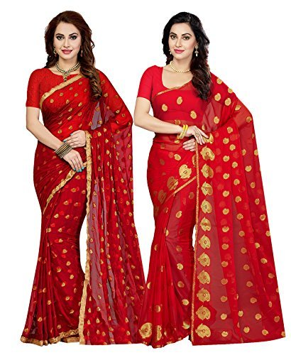 ishin Women's Chiffon Combo Of 2 Saree With Blouse Piece (Combosr-1973, Multicolor, Free Size)