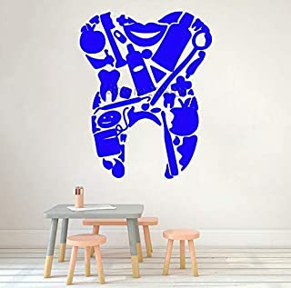 Gabriel Bloor Dental Tools Tooth Shape Vinyl Decals Dentist Office Wall Decor Murals Art Teeth Wall Stickers Removable 56x71cm