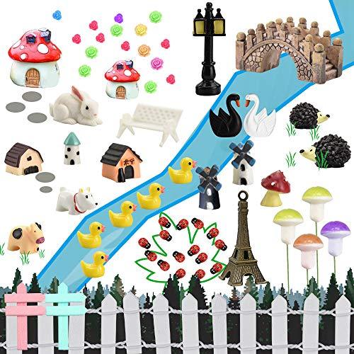 FAVENGO 83 Stücke Fairy Garden Mikrolandschaft Miniatur Deko Puppenstubenzubehör Mini Ornament Garten Miniaturgarten Zubehör Feengarten Set Mikro Landschaft Verschieden Pflanze und Tier für Blumentopf