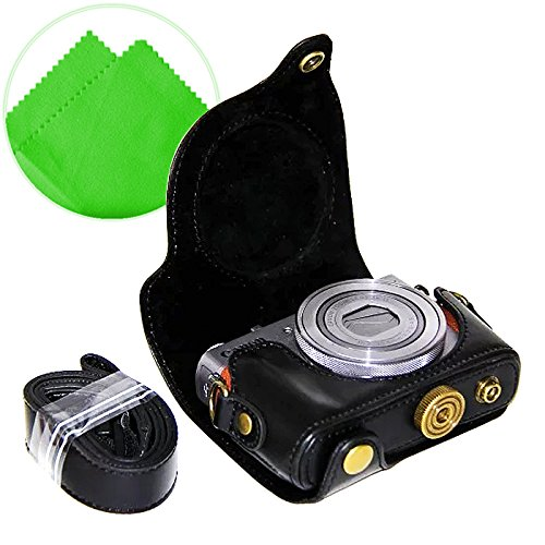 First2savvv XJPT-G9X-01 Black full body Precise Fit PU leather digital camera case bag cover with should strap for Canon PowerShot G9X G9 X + Cleaning cloth