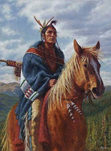 Animaux de cheval indien amérindien Peinture par Numéro à l'huile Diy peindre Nombre pour Adultes et Enfants Seniors sans Cadre Bricolage Kits Toile Brosses débutant Acryliques Art Décoration