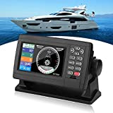 Marine GPS Navigator, 5 Inch Color LCD Double Chart Boat Satellite GPS Navigation Locator IP65 Waterproof XF-520 Dual-Mode Positioning ChartPlotter with 10000 Waypoints, 200 Routes for Boats, Yacht