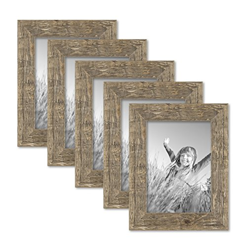 PHOTOLINI 5er Bilderrahmen-Set 13x18 cm Strandhaus Rustikal Eiche-Optik Natur Massivholz mit Glasscheibe inkl. Zubehör/Fotorahmen
