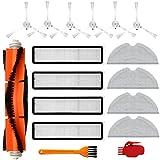 Kit de accesorios para Dreame D9 Partes de Aspiradora, incluye 1 Cepillo Principal, 6 Cepillo Lateral, 4 Filtros, 4 Paño de Fregona, 2 Cepillo de Limpieza