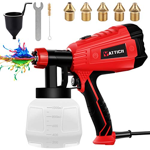 YATTICH Paint Sprayer, High Power HVLP Spray Gun, with 5 Copper...
