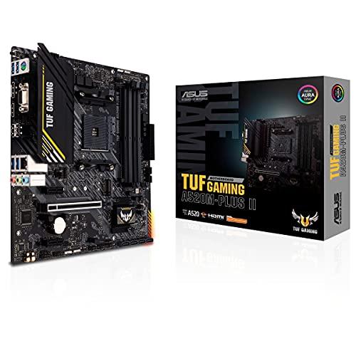 ASUS TUF Gaming A520M-PLUS II - Placa Base de Gaming Micro-ATX (AMD A520 Ryzen AM4 con Soporte M.2, Puertos USB 3.2 Gen. 1, SATA 6 Gbps y Conectores Aura direccionables de 2.Gen)