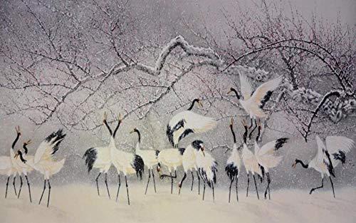 3D Fototapete 3D Effekt Chinesische Artmalereikunst Des Fliegenden Kranichs Im Schnee Tapete 3D Wandbild Bild Tapeten Wandtapete Dekoration Wandbelag Wanddeko