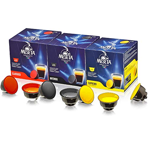 Meseta Italian Variety Nescafe Dolce Gusto Compatible Coffee Capsule Pods - Supremo, Classico, Intenso Flavors - For Use in Nescafe Dolce Gusto Machines - Variety Sampler 48 Pack