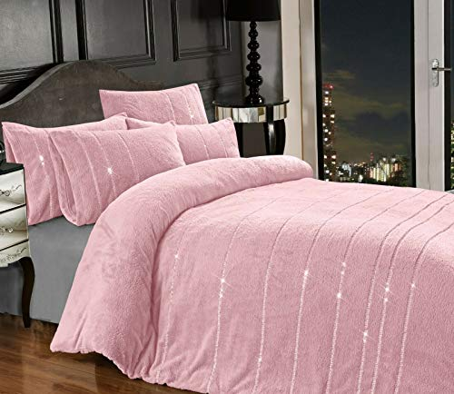 Teddy Bear BLING Diamante Fleece Duvet Cover with Pillow Case Thermal Warm...
