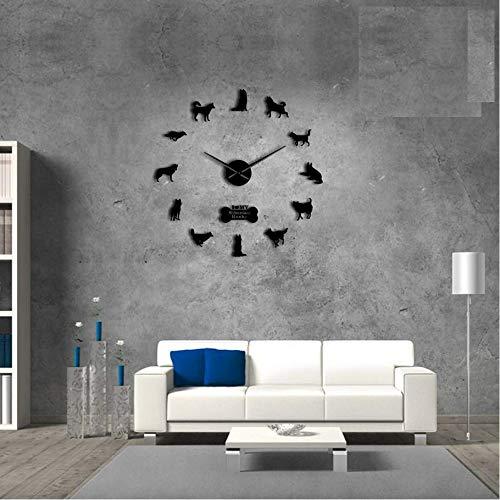 Pmhhc Siberische Husky Russische hond ras Diy grote muur klok zelfklevende Sticker Diy Giant Wall Art Home Decor horloge, 27 Inch