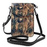 Lsjuee Bull paysage Nature mammifère bandoulière téléphone sac à main petit Mini sac à bandoulière pochette de téléphone portable en cuir portefeuille pour femmes filles