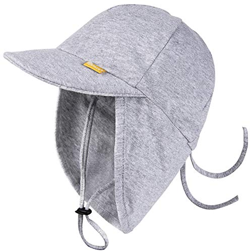 FURTALK Cotton Baby Toddler Sun Hat UPF 50+ All-Day UV Protection Kids Unisex Girls & Boys Summer Hats Cap with Adjustable Chin Straps Neck Flap Size (0-2) Grey