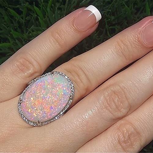 Lai-LYQ Frauen Ring, Glänzende Künstliche Opal Stein Fingerring Für Hochzeit Engagement Bridal Bar Abend Party Schmuck Geburtstagsgeschenk US 7