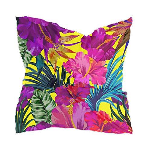 Rulyy - Bufanda cuadrada, diseño de hojas de palma, pañuelo pequeño y multifuncional, unisex, delgada, para mujer y hombre