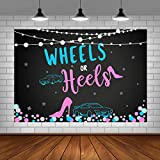 Wheels or Heels Gender Reveal Theme Party Photo Backdrop Boy or Girl Baby Shower Background Pink or Blue Gender Reveal Party Decorations Supplies Cake Table Banner Photo Studio Props 5x3ft