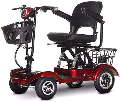 LLYU Vier-Rad-Folding Elektro-Scooter-300W Motor, Dreigeschwindigkeitseinstellung, 20 km/h, schwarz und rot Elektroroller geeignet for ältere Menschen, Erwachsene, Behinderte (Size : 35KG)