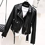 Damen Lederjacke,Modetrend Klassiker Herbst Frühlingblack Punk Serpentine Zipper Rivet Short...
