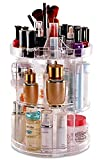 DECO EXPRESS Makeup Organiser, Rotating 360 Degree Organiser for Jewellery Cosmetics Make up and Perfumes, Crystal Clear Display Stand, Great Capacity Storage for Dresser Bedroom Bathroom