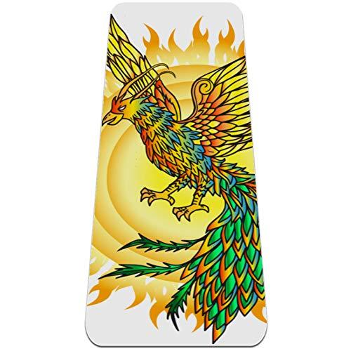 BestIdeas Esterilla de yoga dibujado a mano Phoenix Bird y Flaming Sun para yoga, pilates, ejercicio en el suelo, hombres, mujeres, niños, niños, principiantes, diseño antideslizante