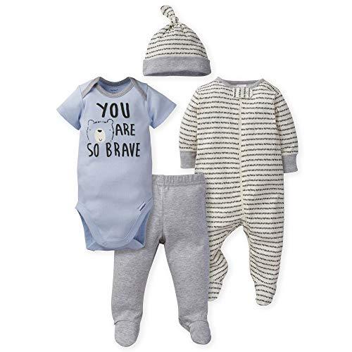 Gerber 4-Piece Sleep 'N Play, Onesies, Pant and Cap Canastillas para bebs, Hola Oso, Prematuro para Bebés