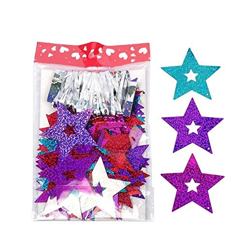 Ballons & Accessories - 100 Pcs/lot Star Card Laser Pendant Love Sequin Ribbon Rain Pendant Wedding Marriage Room Balloon Accessories Decoration - (Multi, Shape: Star, Ballon Size: Other)