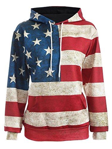 OQC Unisex USA American Flag Print Long Sleeve Pockets Slim Pullover Hoodie Sweatshirt