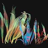 SunKni 7 + 10 + 17 Pulgadas 3 Unidades de Efecto Brillante Kelp Artificial de Silicona para Acuario, Plantas de Seda, decoración de Peces, decoración de Peces, Brillan Grande, Alto, Multicolor