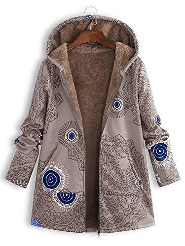 Morton PegfwaS Winter Bedruckte Kapuzenpullover Frauen PlüSch Langarm Damenjacke