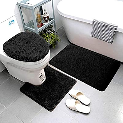 Smart Linen 3 Piece Bathroom Rug Set Includes Bath Rug, Contour Mat and Toilet Lid Cover, Machine Washable, Super Soft Microfiber & Non Slip Bath Rugs with Rubber Backing Solid (Black)