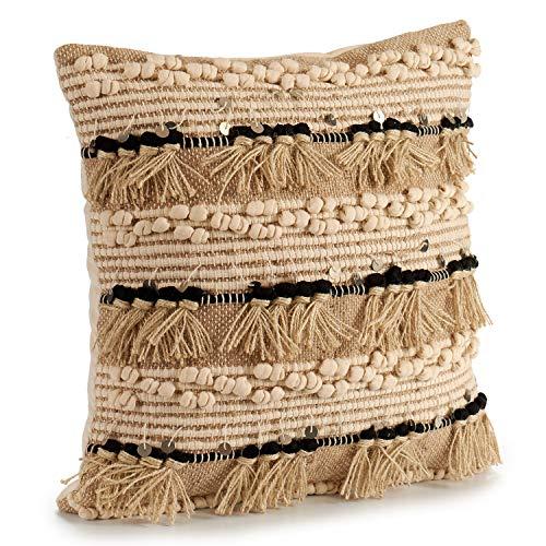 TU TENDENCIA UNICA Cojín Decorativo de Punto Beige con Motivos de algodón en Beige, marrón y Negro con Lentejuelas. Medidas: 45x15x45 cm