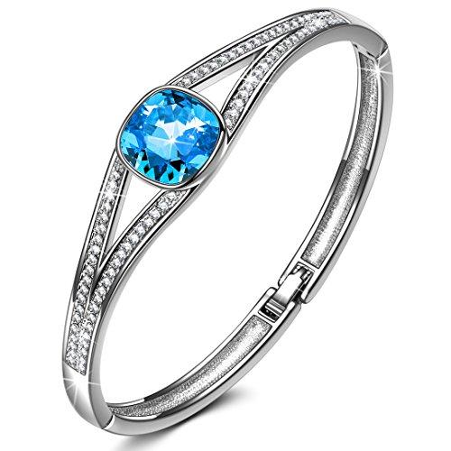 Susan Y Regalo para Mamá, Elegancia para Siempre Azul Pulsera Mujer Swarovski Cristales, Joyería para Ella, Hipoalergénicas