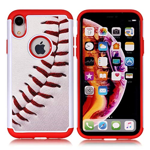 Sunshine_Tech iPhone XR Case - Baseball Sports Pattern Shock-Absorption Hard PC and Inner Silicone Hybrid Dual Layer Armor Defender Protective Case Cover for Apple iPhone Xr 6.1 inch(2018)