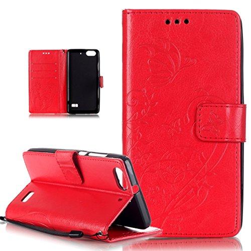 Kompatibel mit Huawei Honor 4C Hülle,Huawei G Play Mini Hülle,Prägung Blumen Reben Schmetterling PU Lederhülle Handyhülle Tasche Flip Wallet Ständer Schutzhülle für Huawei G Play Mini/Honor 4C,Rot