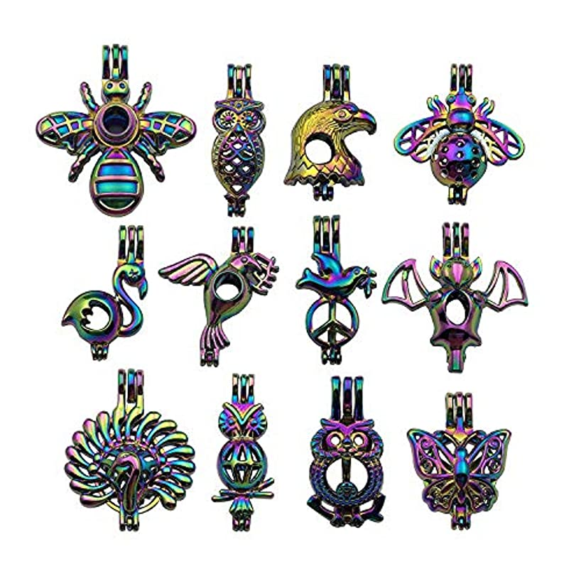 10pcs Mixed Shape Fly Animals Rainbow Pearl Cage Bead Cages Pendants for Jewelry Making/Aromatherapy Essential Oil Scent Diffuser Locket Pendant m210 (Mixed No Duplicate)