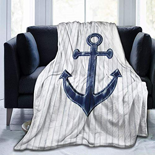 Guduss Rustic Anchor In Navy Blue Throw Blanket Soft Flannel Fleece Blanket for Couch,Bed,Sofa,Chair Office,Travel,Camping,Modern Decorative Warm Blanket60*50