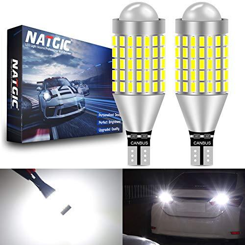 NATGIC T15 W16W 921 Ampoules LED Blanc Xénon 6500K 1800LM 10pcs 3020SMD Chipsets CanBus sans Erreur pour Feu Stop de Voiture, Feu de Recul, Feu de Stationnement, Feux Arrière, 10-16V (Paquet de 2)