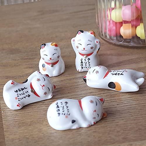 FONDUO Lucky Cat - Soporte para palillos (5 unidades), diseño de gato de la suerte