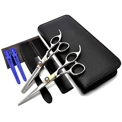 MASTER GO Professional Barber Salon Scissor Hair Cutting Scissors Set Straight Edge Razor Sharp Scissor Texturizing Thinning Shears Set Styling Hair Stainless Steel Scissors