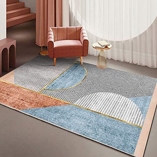 Alfombra moderna y minimalista europea antideslizante con impresión geométrica, para salón, dormitorio, cama, hotel, restaurante, fiesta, (color: E, tamaño: 120 x 160 cm)