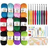 Azerogo Crochet Yarn kit, Handcrafts 12 Acrylic Yarn Skeins for Crochet and Knitting, 1312 Yards Craft DK Yarn with 41 Crochet Hook Set – Ideal Beginner Kit