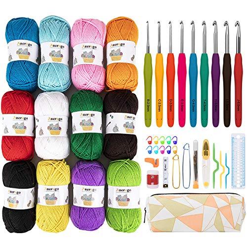 12x50g Large Acrylic Yarn Skeins, Azerogo 1312 Yards Crochet Yarn with 41 Assorted Starter Crochet Kit for Knitting and Crochet Craft, Multicolored Yarn Bulk– Ideal Beginner Kit