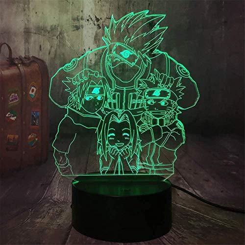 Luce notturna a LED 3D, Lampada LED perUSB Luce Notturna Illusione, 16 colori che Cambiano con Telecomando per Bambini Adulti Regalo di Compleanno e Festa4 Naruto