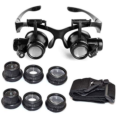 EUROXANTY Gafas de Lupa | Gafas de Lupa para Cabeza Ajustable | Gafas de Ojo de Lupa LED | para Joyero | Reparaciones de Relojes y otras Piezas | Aumentos 10,15,20 y 25x |