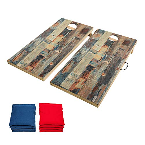 OOFIT Offical Size 2' x 4' Cornhole Outdoor Game Set, Solid Wood Cornhole Toss Game Boards with Scratch Resistant Surface, Convenient Carry Handle and 8 Tossing Bean Bags
