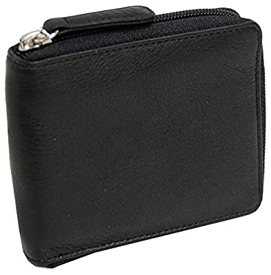 Osgoode Marley RFID Zippered Passcase Leather Mens Bifold Wallet - 1225, Black, One Size