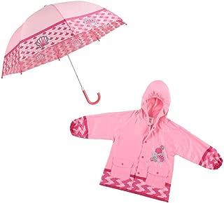Children's Rainwear Set – Matching Printed Rain Jacket & Umbrella Combo, Mermaid Tail