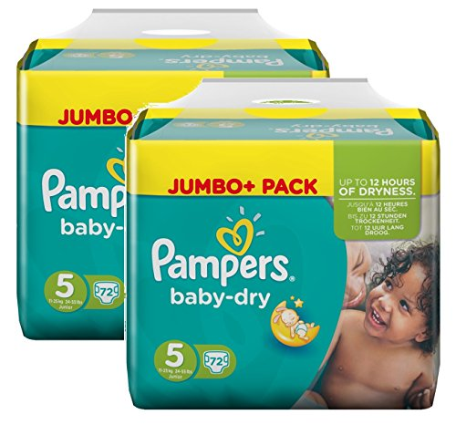 Pampers Baby Dry Größe 5 Junior 11-25kg Jumbo Plus Pack, 2er Pack (2 x 72 Windeln)